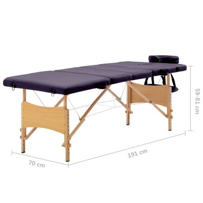 vidaXL Skladací masážny stôl 4 zónový drevený fialový