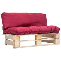 vidaXL Záhradná sedačka z paliet s červenými podložkami, borovica