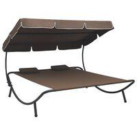vidaXL Záhradná posteľ s baldachýnom a vankúšmi, hnedá
