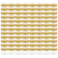 vidaXL Sklenené zaváracie poháre so zlatými viečkami 96 ks 110 ml