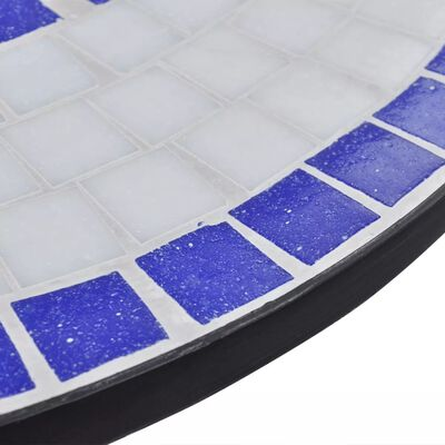 vidaXL Bistro stolík, modro biely 60 cm, mozaikový
