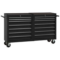 vidaXL Dielenský vozík so 14 zásuvkami čierny oceľový