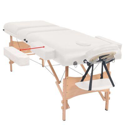 vidaXL Sklápací 3-zónový masérsky stôl a stolička 10 cm hrubý biely