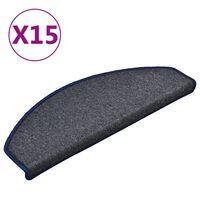 vidaXL Kobercové nášľapy na schody 15 ks tmavosivé a modré 65x24x4 cm
