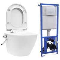 vidaXL Závesné bezokrajové WC so skrytou nádržkou biele keramické