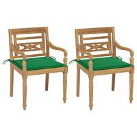 vidaXL Batavia stoličky 2 ks so zelenými vankúšmi tíkový masív