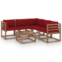 vidaXL 6-dielna záhradná sedacia súprava vínovočervené podložky impregnovaná borovica