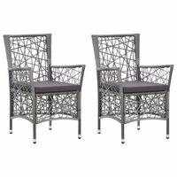 vidaXL Vonkajšie stoličky 2 ks s podložkami, polyratan, sivé