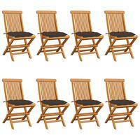 vidaXL Záhradné stoličky so sivohnedými podložkami 8 ks tíkový masív