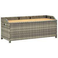 vidaXL Záhradná úložná lavica sivá 120 cm polyratanová