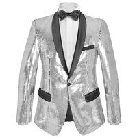 vidaXL Pánske flitrované oblekové sako/smoking/bunda, strieborné, veľkosť 46