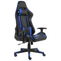 vidaXL Otočná herná stolička modrá PVC