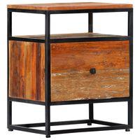 vidaXL Nočný stolík 40x30x50 cm, recyklovaný masív a oceľ