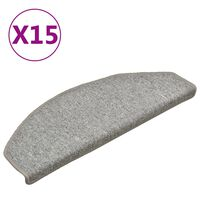 vidaXL Kobercové nášľapy na schody 15 ks bledosivé 65x24x4 cm