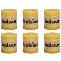 Bolsius Rustikálne valcové sviečky 6 ks 80x68 mm, okrovo žlté