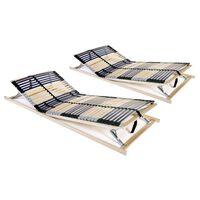 vidaXL Lamelové posteľné rošty 2 ks so 42 lamelami a 7 zónami 80x200 cm