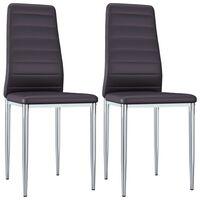 vidaXL Jedálenské stoličky 2 ks, hnedé, umelá koža