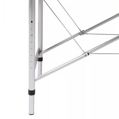 Krémovo biely skladací masážny stôl, 2 zóny, hliníkový rám