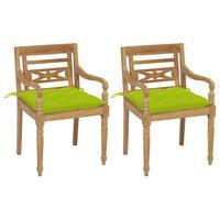vidaXL Batavia stoličky 2 ks s jasnozelenými vankúšmi masívny teak
