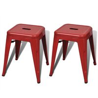 vidaXL Stohovateľné stoličky 2 ks, červené, kov