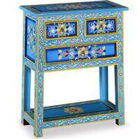 vidaXL Prístavný stolík z mangovníkového dreva so zásuvkami, tyrkysový, ručne maľovaný