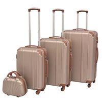 vidaXL Sada 4 cestovných kufrov z tvrdým krytom, farba šampanského