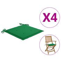 vidaXL Podložky na záhradné stoličky 4 ks, zelené 40x40x4 cm