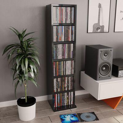 vidaXL Skrinka na CD, lesklá sivá 21x20x88 cm, drevotrieska
