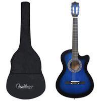 """vidaXL 12-dielna folková akustická gitara so 6 strunami modrá 38"""""""