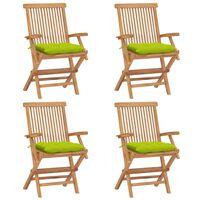 vidaXL Záhradné stoličky s jasnozelenými podložkami 4 ks tíkový masív