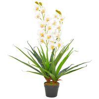 vidaXL Umelá rastlina orchidea s kvetináčom 90 cm biela