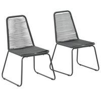 vidaXL Vonkajšie stoličky 2 ks, polyratan, čierne