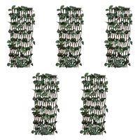 vidaXL Mriežkový plot z vŕbového prútia 5 ks s umelým lístím 180x120 cm