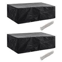 vidaXL Ochranné obaly na záhradný nábytok 2 ks 300x140cm polyratanová súprava pre 8 osôb 10 očiek