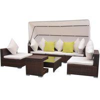 vidaXL 7-dielna záhradná sedacia súprava+baldachýn, polyratan, hnedá