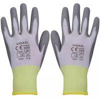 Bielo šedé pracovné rukavice z PU, veľkosť 10/XL, 24 párov vidaXL
