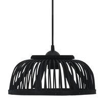 vidaXL Závesná lampa, čierna, bambus 40 W, 30x12 cm, polkruhová E27