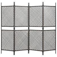 vidaXL 4-panelový paraván hnedý 240x200 cm polyratanový