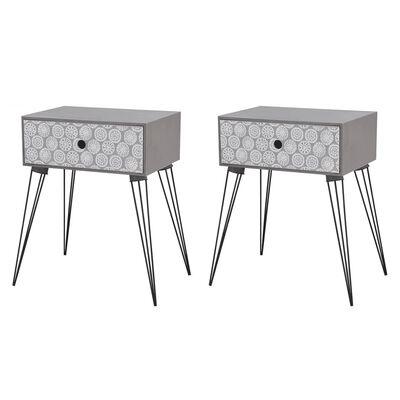 vidaXL Nočné stolíky so zásuvkou 2 ks šedé