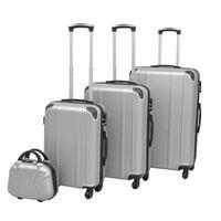 vidaXL Sada 4 cestovných kufrov z tvrdým krytom, strieborná