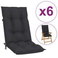 vidaXL Podložky na záhradné stoličky 6 ks, antracitové 120x50x7 cm