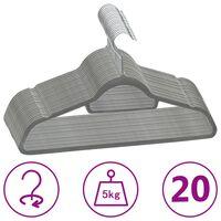 vidaXL 20-dielna sada vešiakov na oblečenie protišmyková sivá zamatová