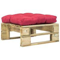 vidaXL Záhradná taburetka z paliet, červená podložka, zelená, drevo