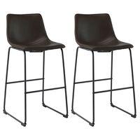 vidaXL Barové stoličky 2 ks, tmavohnedé, umelá koža