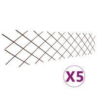 vidaXL Mriežkový plot z vŕbového prútia 5 ks, 180x60 cm