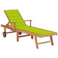 vidaXL Záhradné ležadlo so žiarivo zelenou podložkou tíkový masív