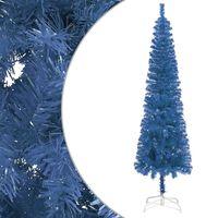 vidaXL Úzky vianočný stromček modrý 150 cm