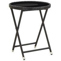 vidaXL Čajový stolík, čierny 60 cm, polyratan, tvrdené sklo