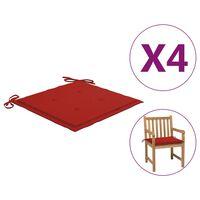 vidaXL Podložky na záhradné stoličky 4 ks červené 50x50x4cm látka