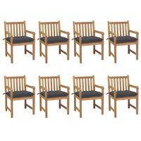 vidaXL Záhradné stoličky 8 ks s antracitovými podložkami tíkový masív